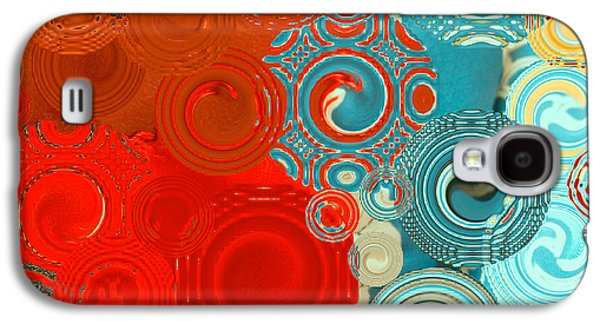 Abstract Digital Mixed Media Galaxy S4 Cases - Happy Swirls Galaxy S4 Case by Bonnie Bruno