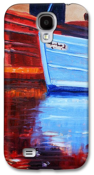 Frigates Paintings Galaxy S4 Cases - Harbor Reflection Galaxy S4 Case by Nancy Merkle