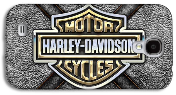 Crest Digital Art Galaxy S4 Cases - Harley-Davidson 3D Badge-Logo in Gold on Black Leather Galaxy S4 Case by Serge Averbukh