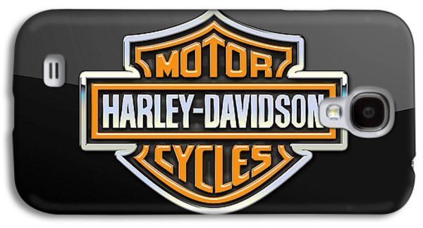 Crest Digital Art Galaxy S4 Cases - Harley-Davidson 3D Badge-Logo on Black Galaxy S4 Case by Serge Averbukh