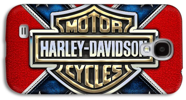 Crest Digital Art Galaxy S4 Cases - Harley-Davidson 3D Badge-Logo on Leather Confederate Flag Galaxy S4 Case by Serge Averbukh