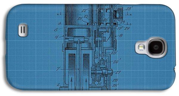 Mechanics Mixed Media Galaxy S4 Cases - Harley Davidson Engine Blueprint Galaxy S4 Case by Dan Sproul