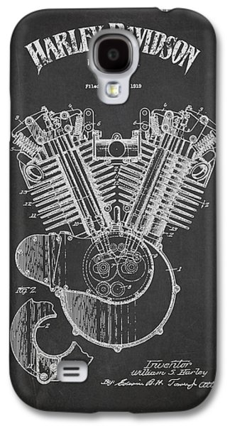 Technical Digital Art Galaxy S4 Cases - Harley Davidson Engine Patent Drawing From 1919 - Dark Galaxy S4 Case by Aged Pixel