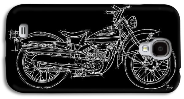 Transportation Pastels Galaxy S4 Cases - Harley Davidson Scat 165 1963 Galaxy S4 Case by Pablo Franchi