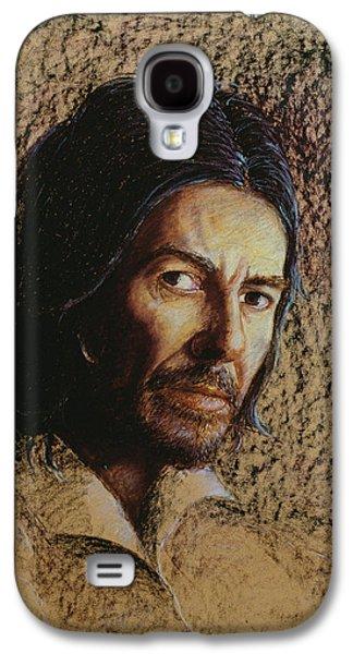 Beatles Galaxy S4 Cases - Harrison 1943-2002 Oil Pastel On Board Galaxy S4 Case by Trevor Neal