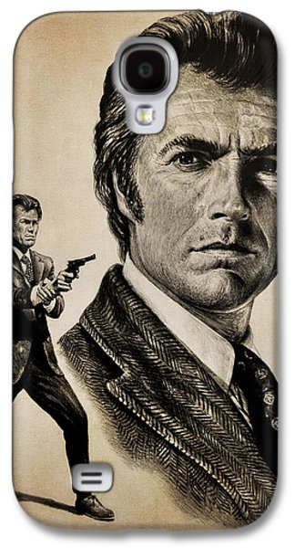 Character Portraits Drawings Galaxy S4 Cases - Harry Callahan  tan version Galaxy S4 Case by Andrew Read