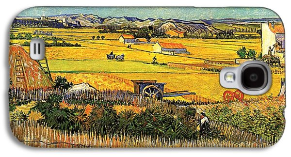 Farming Paintings Galaxy S4 Cases - Harvest at La Crau with Montmajour in the Background Galaxy S4 Case by Vincent Van Gogh