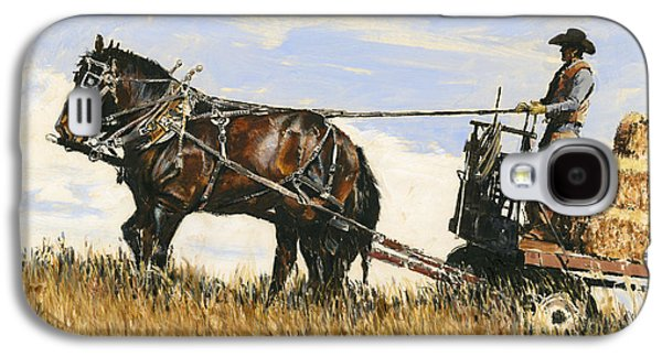 Hay Paintings Galaxy S4 Cases - Hauling Hay Galaxy S4 Case by Don  Langeneckert
