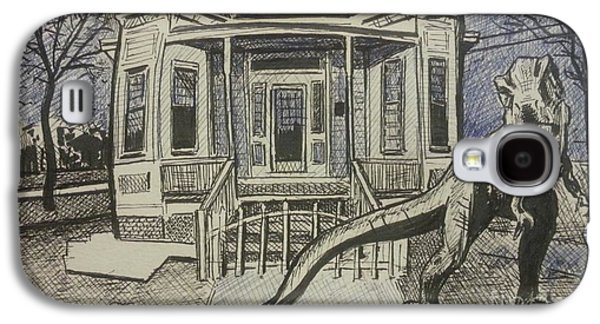 Haunted House Drawings Galaxy S4 Cases - Haunted house Galaxy S4 Case by Jude Darrien