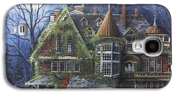 Haunted House Paintings Galaxy S4 Cases - Haunted Mansion Galaxy S4 Case by Debbi Wetzel
