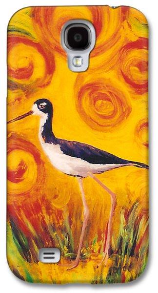 Fauna Glass Galaxy S4 Cases - Hawaiian Stilt Sunset Galaxy S4 Case by Anna Skaradzinska