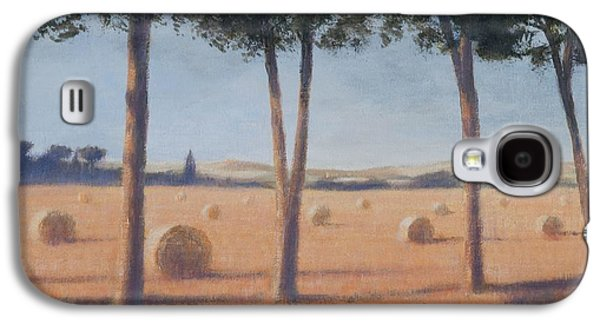 Hay Bales Galaxy S4 Cases - Hay Bales And Pines, Pienza, 2012 Acrylic On Canvas Galaxy S4 Case by Lincoln Seligman