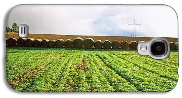 Hay Bales Galaxy S4 Cases - Hay Bales In A Farm Land, Germany Galaxy S4 Case by Panoramic Images