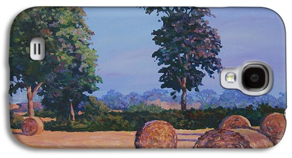 Haybales Paintings Galaxy S4 Cases - Hay-bales in Evening Light Galaxy S4 Case by John Clark