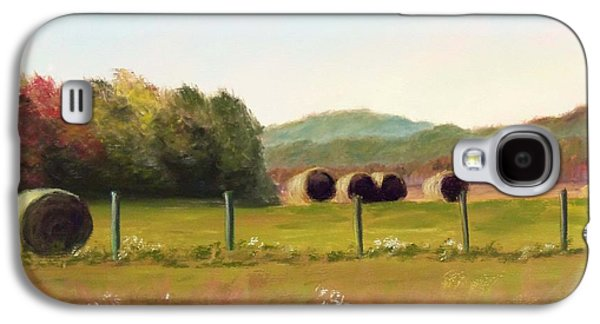 Haybales Pastels Galaxy S4 Cases - Hay bales in the Cove Galaxy S4 Case by Joan Swanson