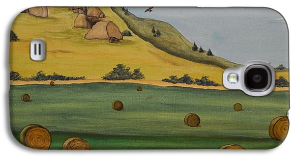 Haybales Paintings Galaxy S4 Cases - Haybales Galaxy S4 Case by Cassandra Barnhart