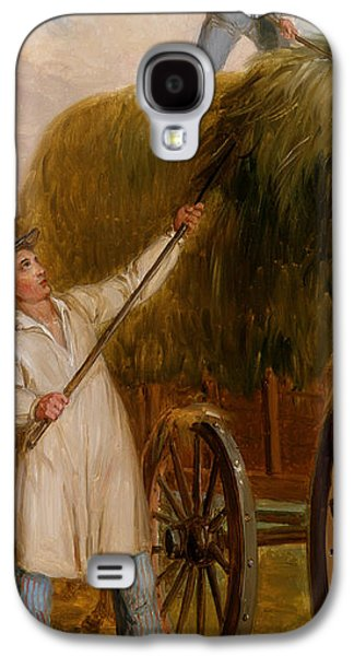 Hay Paintings Galaxy S4 Cases - Haying Scene Galaxy S4 Case by Asher Brown Durand