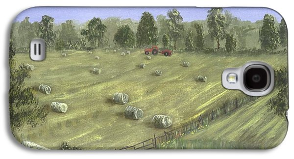 Haybales Paintings Galaxy S4 Cases - Haying Season Galaxy S4 Case by John W Fuller