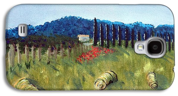 Haybales Paintings Galaxy S4 Cases - Haystacks Galaxy S4 Case by Maura Satchell