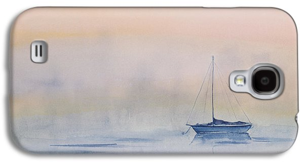 Sailboat Ocean Paintings Galaxy S4 Cases - Hazy Day Watercolor Painting Galaxy S4 Case by Michelle Wiarda