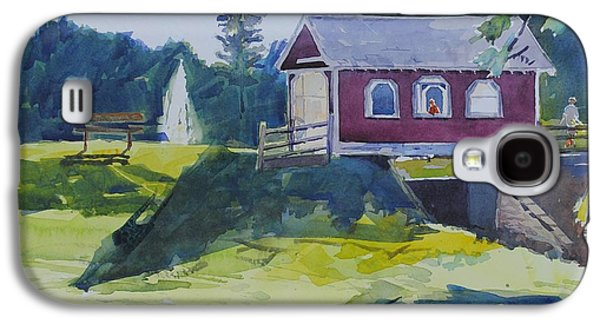 Covered Bridge Paintings Galaxy S4 Cases - Hazy Morning At Hope Bridge Galaxy S4 Case by Spencer Meagher