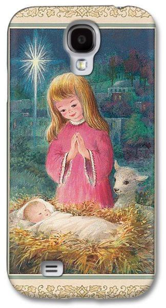 Star Of Bethlehem Galaxy S4 Cases - He Lay In A Manger Gouache Galaxy S4 Case by Stanley Cooke