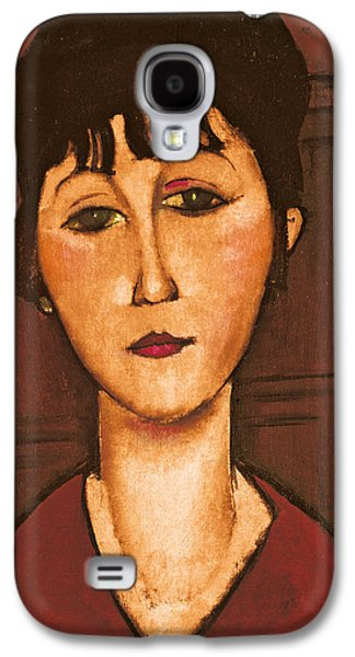 Abstractions Paintings Galaxy S4 Cases - Head of a Girl Galaxy S4 Case by Amedeo Modigliani