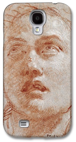 Portraits Pastels Galaxy S4 Cases - Head of a Man looking up Galaxy S4 Case by Giovanni Battista Tiepolo