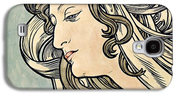 20th Drawings Galaxy S4 Cases - Head of a Woman Galaxy S4 Case by Alphonse Marie Mucha