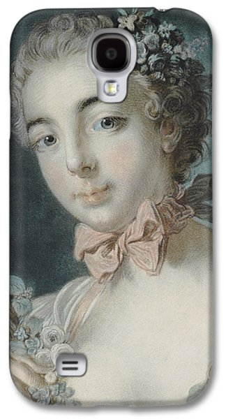 Portraits Pastels Galaxy S4 Cases - Head of Flora Galaxy S4 Case by Francois Boucher