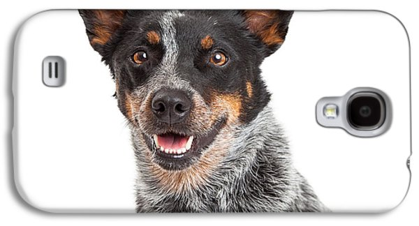 Cattle Dog Galaxy S4 Cases - Head Shot Of An Australian Cattle Dog Galaxy S4 Case by Susan  Schmitz