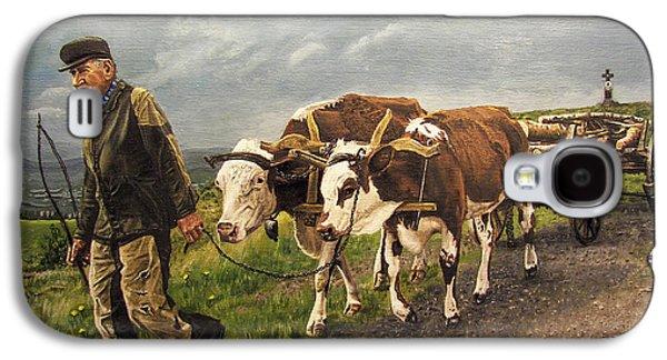 Angus Steer Paintings Galaxy S4 Cases - Heading Home Galaxy S4 Case by Deborah Strategier