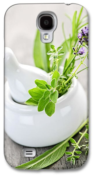 Medicine Photographs Galaxy S4 Cases - Healing herbs in mortar and pestle Galaxy S4 Case by Elena Elisseeva