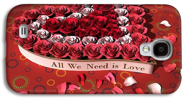 Nature Center Paintings Galaxy S4 Cases - Heart and roses Galaxy S4 Case by Victor Gladkiy