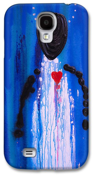 Courage Paintings Galaxy S4 Cases - Heart and Soul - Angel Art Blue Painting Galaxy S4 Case by Sharon Cummings