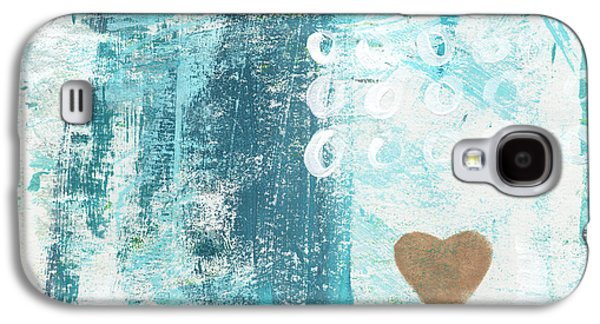 Ocean Mixed Media Galaxy S4 Cases - Heart in the Sand- abstract art Galaxy S4 Case by Linda Woods