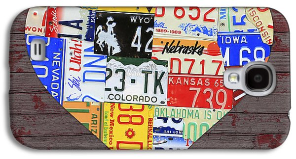 Red Barns Galaxy S4 Cases - Heart of America USA Heartland Map License Plate Art on Red Barn Wood Galaxy S4 Case by Design Turnpike