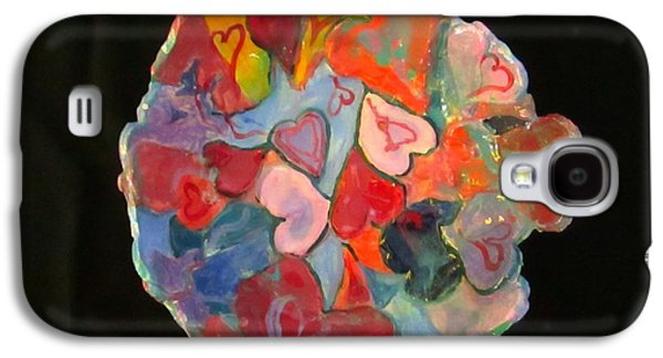 Red Abstract Ceramics Galaxy S4 Cases - Hearts Hand Built Galaxy S4 Case by Martha Nelson