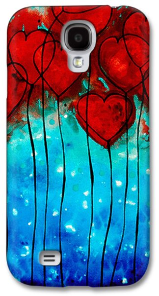 """abstract Art"" Galaxy S4 Cases - Hearts on Fire - Romantic Art By Sharon Cummings Galaxy S4 Case by Sharon Cummings"