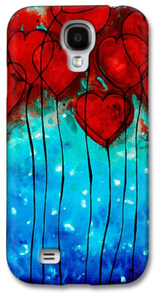 Balloons Galaxy S4 Cases - Hearts on Fire - Romantic Art By Sharon Cummings Galaxy S4 Case by Sharon Cummings