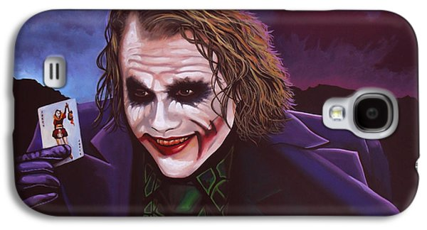 Actors Paintings Galaxy S4 Cases - Heath Ledger as the Joker 2 Galaxy S4 Case by Paul Meijering