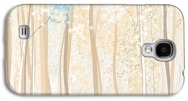 Beige Abstract Galaxy S4 Cases - Heavenly Woods- Teal And White Art Galaxy S4 Case by Lourry Legarde