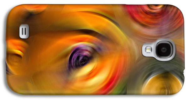 Orange Mixed Media Galaxy S4 Cases - Heavens Eyes - Abstract Art by Sharon Cummings Galaxy S4 Case by Sharon Cummings