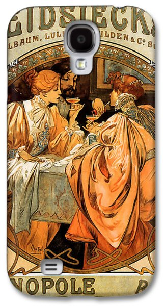 Champagne Paintings Galaxy S4 Cases - Heidsieck Champagne Poster Advert Galaxy S4 Case by Alphonse Mucha