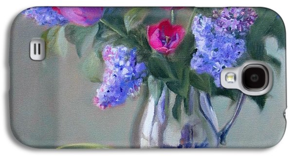 Old Pitcher Paintings Galaxy S4 Cases - Heirlooms- Lilacs and Tulips in a Silver Pitcher Galaxy S4 Case by Bonnie Mason