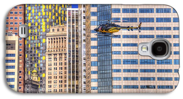 Building Photographs Galaxy S4 Cases - Helicopter in the City Galaxy S4 Case by Juli Scalzi