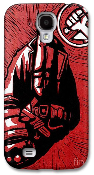 Linocut Drawings Galaxy S4 Cases - Hellboy Galaxy S4 Case by Vergil Nikolov