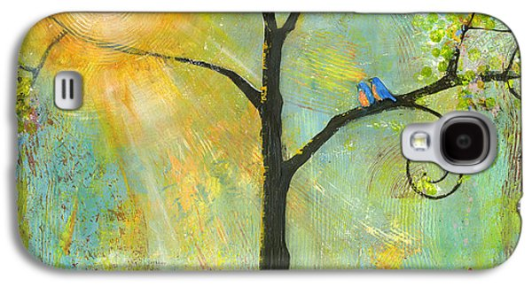 Blue Galaxy S4 Cases - Hello Sunshine Tree Birds Sun Art Print Galaxy S4 Case by Blenda Studio