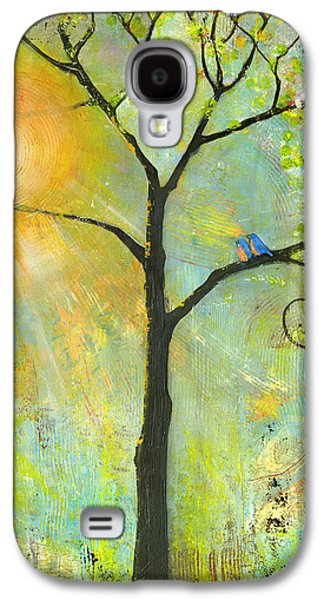 Hello Sunshine Tree Birds Sun Art Print Galaxy S4 Case by Blenda Studio