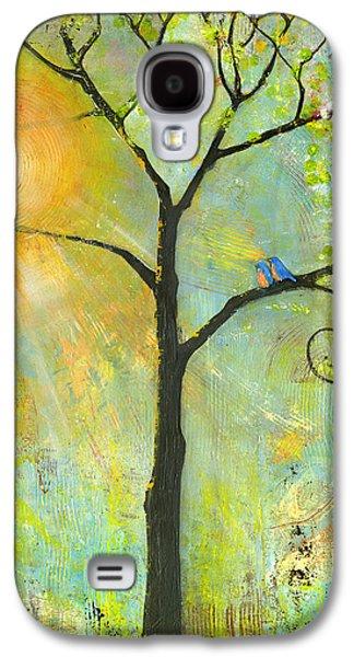 Hello Sunshine Tree Birds Sun Art Print Galaxy S4 Case by Blenda Studio